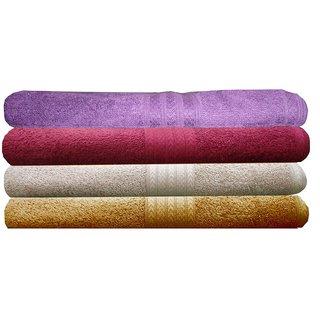 India Furnish 100 Cotton Soft Towel Set 450 GSM,Set of 4 Pcs ,Size 60 cm x 120 cm-Purple,Maroon,Biscuit  Gold Color