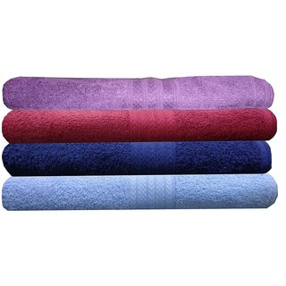India Furnish 100 Cotton Soft Towel Set 450 GSM,Set of 4 Pcs ,Size 60 cm x 120 cm-Purple,Maroon,Sky Blue  Navy Blue Color