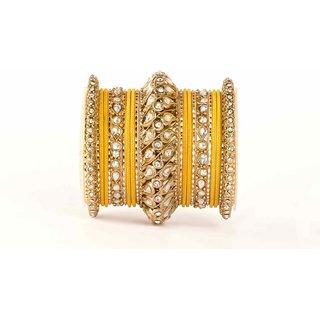 yellow and golden Traditional kundan bangle set by leshya for single hand