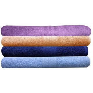 India Furnish 100 Cotton Soft Towel Set 450 GSM,Set of 4 Pcs ,Size 60 cm x 120 cm-Purple,Maroon,Gold  Navy Blue  Color