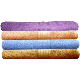 India Furnish 100 Cotton Soft Premium Towel Set 450 GSM,Set of 4 Pcs ,Size 60 cm x 120 cm-Purple,Sky Blue,Peach  Gold  Color