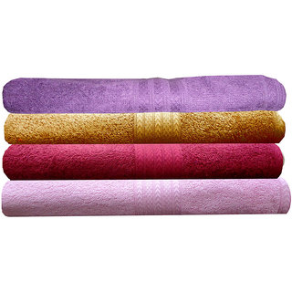 India Furnish 100 Cotton Soft Towel Set 450 GSM,Set of 4 Pcs ,Size 60 cm x 120 cm-Purple,Gold,Maroon  Baby Pink Color