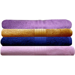 India Furnish 100 Cotton Soft  Towel Set  450 GSM,Set of 4 Pcs ,Size 60 cm x 120 cm-Purple,Navy Blue,Gold  Baby Pink Color