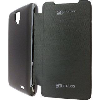 Flip Case Cover For Micromax Bolt Q333 (Black)