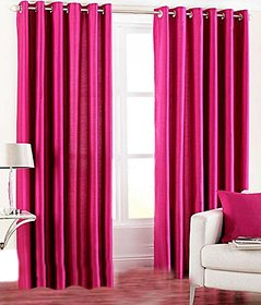 Geo Nature Rani Pink Polyster Door Curtains Set Of 2 (G2CR7F-31)