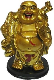 Laughing Buddha Happy Man for Wealth Showpiece - 12 cm(Polyresin, Gold)