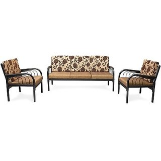 Furniturekraft Metal Sofa Set 3 1 Color Black Configuration Straight