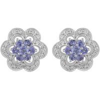 Elegant! 925 Sterling Silver Tanzanite Gemstone Stud Earring by Allure