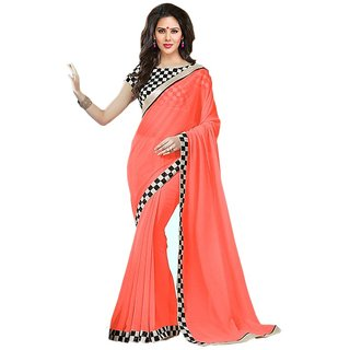 5107843e014ce Buy Bhuwal Fashion Peach Georgette Embroidered Saree With Blouse Online - Get  70% Off