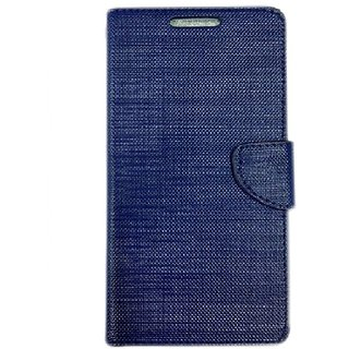 Micromax canvas Spark Q380 Back Synthetic Leather Flip cover Case Blue
