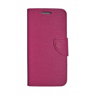 Micromax canvas Spark Q380 Back Synthetic Leather Flip cover Case Pink