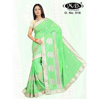 Georgette  With Zari Embroidered Green Colored Saree