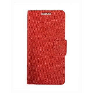 Micromax Xpress2 E313 Back Synthetic Leather Flip cover Case Red