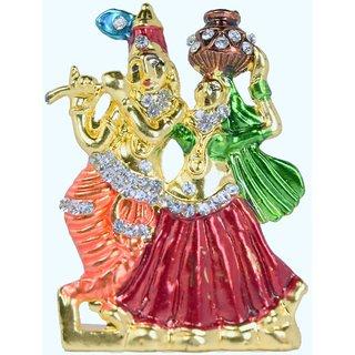 Royal Craft Lord Krishna Radha Flute Idol Showpiece - 5 cm