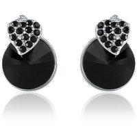 Mahi Made with Swarovski Elements Rhodium Plated Black Stud Earrings for Women ER1194089RBla