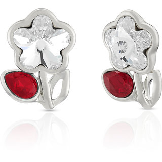 Mahi Rhodium Plated Red Drop And White Floral Earrings Made With Swarovski Elements For Women Er1194115Rwhired