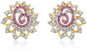 Mahi Gold plated Pink Dahlia Flower Earrings Made with Swarovski Elements for Women ER1194129GPinWhi