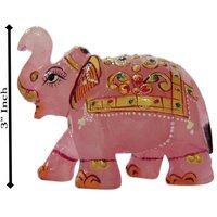 Handicrafts Unique Rose Quartz Stone Painted Elephant 3 Inch STM1083Handicrafts