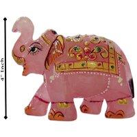 Handicrafts Traditional Rose Quartz Stone Painted Elephant 4 Inch STM1084