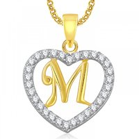 Meenaz Heart M Alphabet Pendant for Girls Women With Chain Valentine Gifts PS406