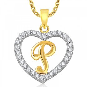 Meenaz Heart P Alphabet Pendant for Girls Women With Chain Valentine Gifts PS408