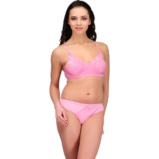 Urbaano Exquisite Bridal Jacquard Lycra Set -Pink-Ur5032S