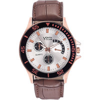 Youth Club Round Dial Brown Rubber Strap Mens Automatic Watch