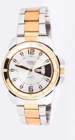 Round Dial Golden  Silver Rubber Strap Mens Automatic Watch