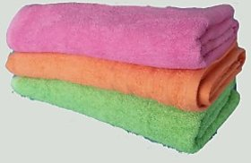 Towelskart Cotton Bath Towels(Pink,Orange,Green)
