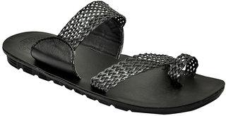 Stylos Mens Black Slip On Ehnic Shoe