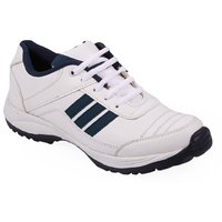Stylos Mens White and Blue Sports Shoes