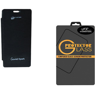 Snaptic Black Flip Cover For Micromax Canvas Spark Q380  Tempered Glass