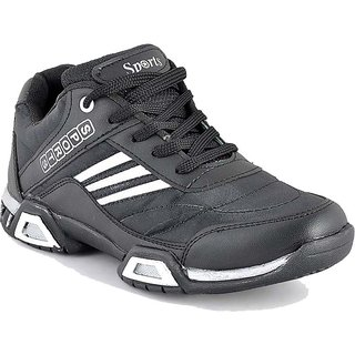 Mens Black Lace-up Running Shoes