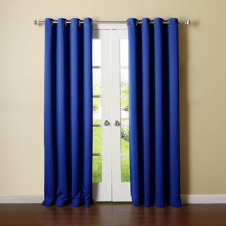 Geo Nature Blue Polyster Eyelet Window Curtains Set Of 2 Size 4X5 (G2CR5F-37)