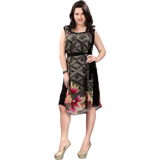 Surat Tex Black Color Georgette Casual Wear Printed Kurti
