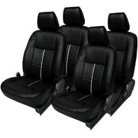 Hi Art Black/Silver [Complete Set] Leatherite Seat Covers for Maruti Eeco 7-Seater