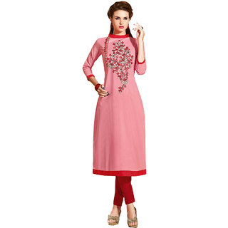 SuratTex Pink Embroidered Cotton Stitched Kurti