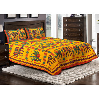 Jaipuri Haat Kantha Work Embroidered Double Bed Sheet With 2 Pillow Covers - King Size, Multi Color(JH-DB-KANTHA-LCEL-O)