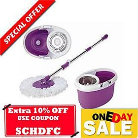 Kakadiy'S Violet,White Plastic 360 Degree Rotation Plastic Mop With Dual Spinner