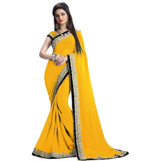 Bhuwal Fashion Yellow Georgette Embroidered Saree With Blouse