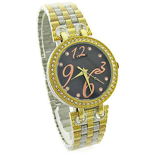 Women's Analog Designer Diamond 2Tone Chain Belt Wrist Fashion Watch LXW5002