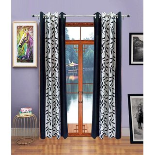 Geonature Black Polyster Eyelet Window Curtains Set Of 2 Size 4X5 (G2CR5F-111)