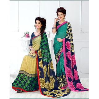 Thankar online trading Blue Georgette Embroidered Saree With Blouse