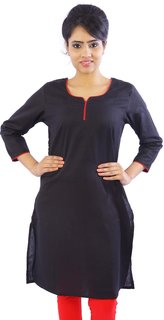 kanishka Women's Solid Casual Round with Noutch Rajasthan 3/4 Sleeve Cotton Kurti(Black)