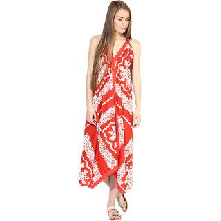 bd9057c2d49 Buy Maxi Orange   White Geometric A Line Dress Dress For Women Online - Get  70% Off