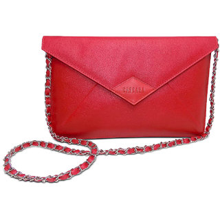 Women Red Rexine Party Wear Sling Bag