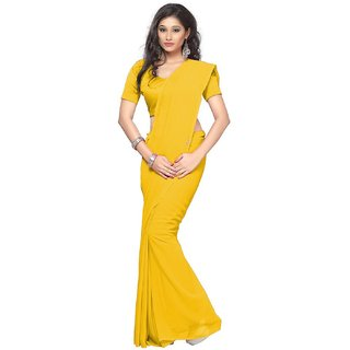 Dream Beauty Fashion Yellow Plain Chiffon saree