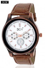 DCH WT 1220 Brown n White Analog Watch For Men comes With 1 Year Warranty