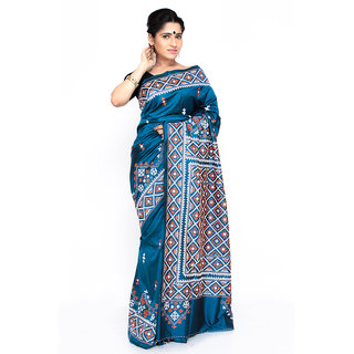 Buy Boutique Rupkatha Blue Bengali Gujrati Kutch Stitch Silk Saree