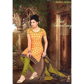 Kapoor Creations Orange  Green Cotton Printed Suit